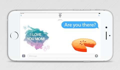 iMessage Sticker Pack, love you mom, pie sticker,  message stickers